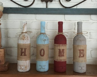 Four Wine Bottle Rustic Home Decor Set