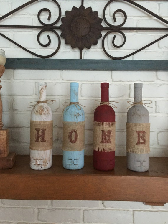 Rustic home decor four wine bottle set home decor rustic for Home decor crafts