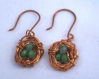 copper wire birds nest earrings
