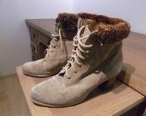 Beige suede women boots