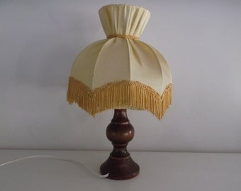 lamp shade fringe and foot turned wood