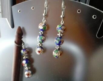 Blue Cloisonne Hair Stick w/ Earrings #12515