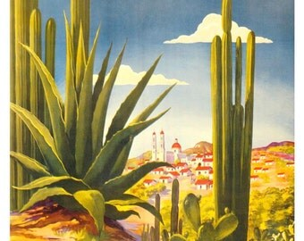 Vintage Mexico Travel Poster Print