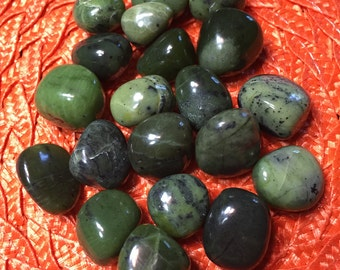 Nephrite Jade Tumbled- ONE Piece- Reiki Infused - Buy any 4 stones- get one free