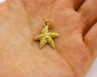 Gold Starfish Pendant 14k Gold Pendant Seashell Pendant Gold Starfish Necklace Gold Pendant