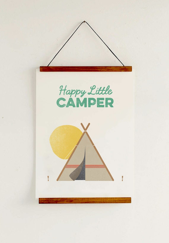 "Items similar to 12""x18"", Happy Little Camper Print ..."