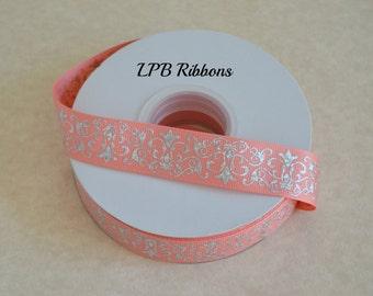 """7/8"""" Coral Holographic damask, Coral grosgrain ribbon, grosgrain ribbon, Holographic Ribbon, Damask ribbon, US Designer Ribbon"""