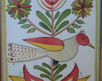 Bird on Tulip Original Watercolor in the German Fraktur Style