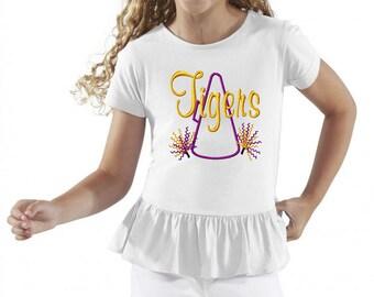 Megaphone-Pompoms - TIGERS Girls Ruffle T-Shirt