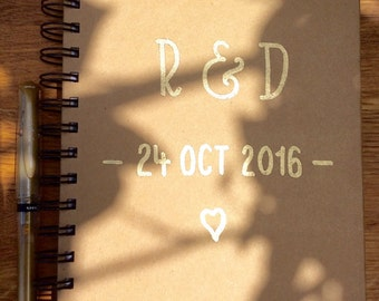 Personalised Wedding Planner | 22 x 15 cm | Spiralbound Notebook | Gold Embossed Hand Lettering