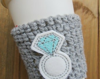 Diamond Ring Crochet Coffee Cozy!  Bling Engagement Ring Starbucks Travel Cup Coffee Sleeve Preppy Spring Wedding Gift Bride to Be Gift Cosy