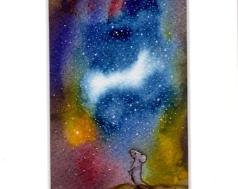 Original Hand-Painted Wall Art - Mounted.  ' Far, Far Away' (Not a print) WATERCOLOUR