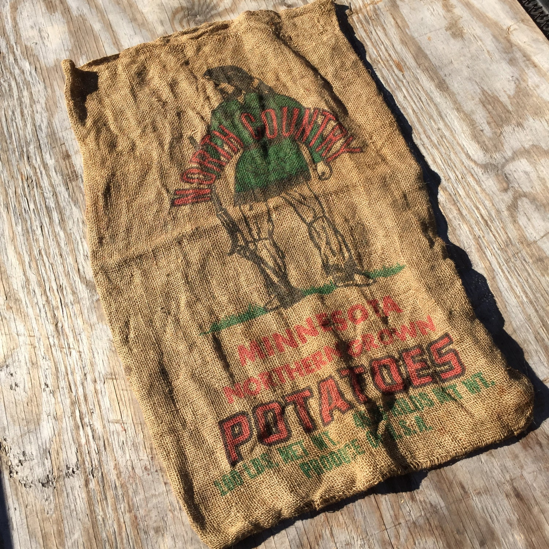 Vintage burlap feed sack bag minnesota potato corn use for Burlap sack decor