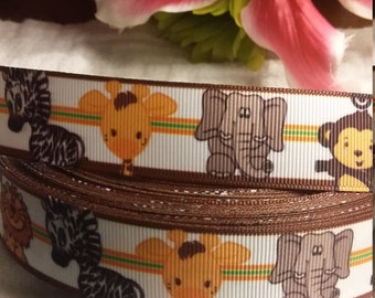 "3 yards 1"" baby jungle animals grosgrain ribbon"
