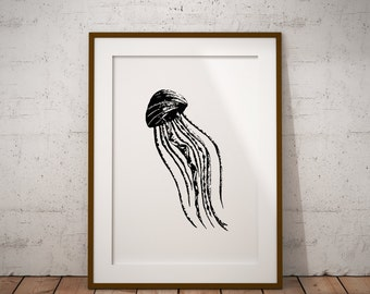 Geometric Jellyfish, Black And White, Abstract Graphic, Home Decor, Digital Print