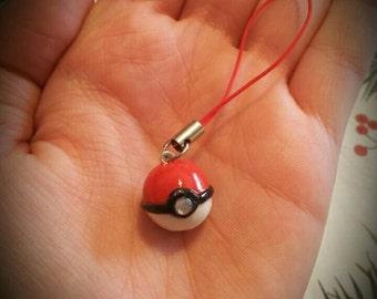 Cute little rhinestone pokeball charm / plug / keychain