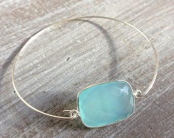 Chalcedony blue silver bracelet