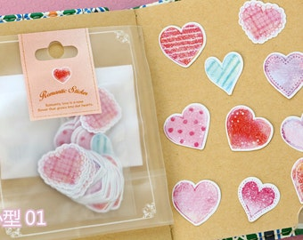 70pc heart Japanese scrapbooking stickers