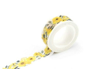 yellow floral - Washi Tape, Masking Tape, Planner Stickers