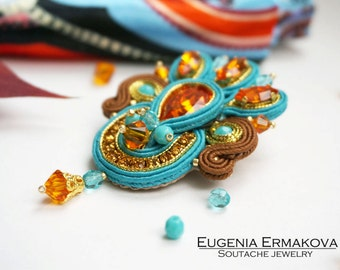 Soutache brooch Soutache jewelry Hand embroidered brooch soutache Turquoise blue tangerine orange soutache brooch Large brooch with pendant