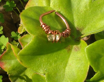 Copper & Bead Wire Wrapped Ring