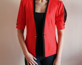 Red Blazer Vintage 80s Blazer Short Sleeves Blazer Women's Blazer Red and Black Jacket Elegant Jacket Padded Shoulders Medium Size