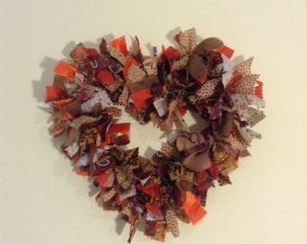 Rust Coloured Fabric Heart Wreath