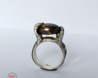 Silver ring / ring made of silver with semi-precious stone/solitaire rings