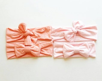 Coral and light pink headwraps
