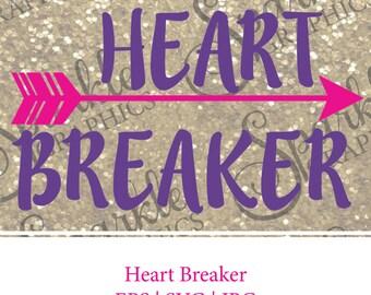 SALE Heart Breaker SVG Heart Breaker Heart svg  Arrow svg Arrow Valentines Day svg Valentines Day JPG, eps Silhouette Cut File Cricut