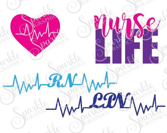 Nurse Cut File Set Nursing School RN LPN Hospital Life Clipart Svg Dxf Eps Png Silhouette Cricut Commercial Use From SparkleGraphics16 On
