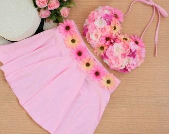 Pink mini skirt swimwear