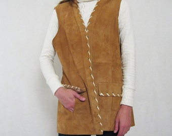DOE SUEDE lace up vest 1970s Medium / Large