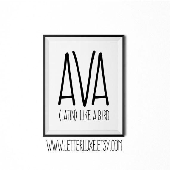 Ava Name Meaning Art Printable Baby Shower Gift Nursery
