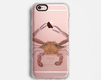 Crab iPhone 7 Plus case, iPhone 7 case, iPhone 6s plus case, iPhone 6s case, iPhone SE case, clear case, orange brown drawing C102