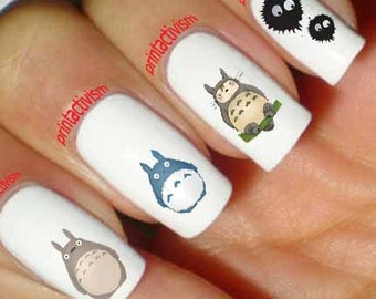 Anime nails etsy 60 totoro anime japan set 1 waterslide or peel apply nail art decal image prinsesfo Gallery