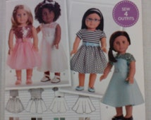 """Sewing Pattern for American Girl or  18"""" Doll Wardrobe , Simplicity Pattern S0172,  American Girl Dress Patterns, Modern Style"""