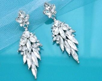 Crystal Wedding Earrings, Bridal jewelry, Rhinestone earrings vintage, Art deco bridal earrings, Chandelier earrings, Dangle earrings, 11244