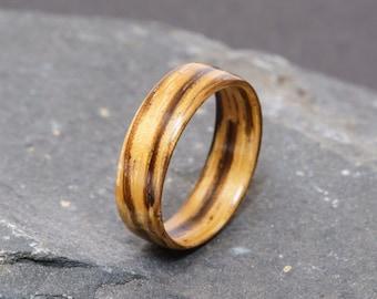 Zebrano Ring - custom zebrano bentwood wooden ring. Alternative wedding jewellery for men and women.