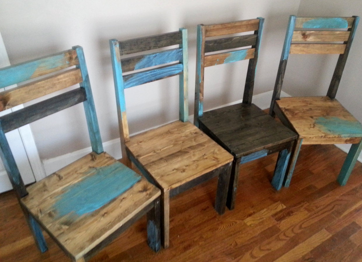 distressed dining room furniture | Rustic Dining Chair / Distressed Dining Room by AlexFurniture1