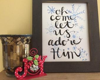 Christmas art, Christmas home decor, Holiday decor, Christmas decoration, Christmas song, Religious art, Handmade Watercolor Art Print