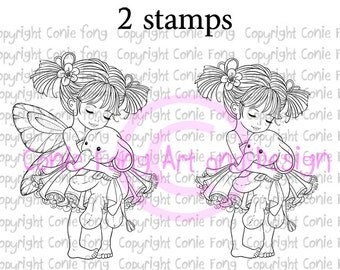 Digital Stamp, Digi Stamp, Digistamp, Emma and Ellie by Conie Fong, Girl, Fairy, elephant, fantasy, children, coloring page, scrapbooking