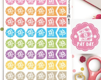 Pay Day Money Assorted Shapes Planner Stickers | Reminders | Work | Hexagon | Flags | Teardrops