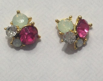 Pair, Nail Charms CZ and Opal Like  Cluster