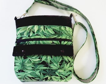 Messenger Bag/Tablet Carry Bag/Cannabis Print/Cell phone purse