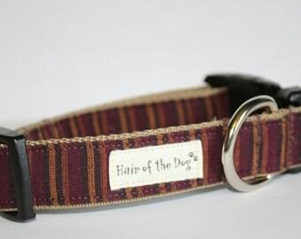 Burgandy Homespun Stripe DoG Collar