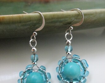 Drop Earrings with Round Turquoise Bead Surrounded by Blue Glass Seed Beads