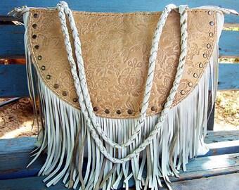 White Tassel Leather Bag, White Leather Shoulder Bag, Ethnic Leather Bag, Boho Tassel Bag, Native Indian Leather Bag, White Leather Purse