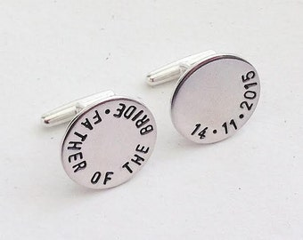 Sterling Silver Custom Cufflink Set - engraved - hand stamped - Father of the Bride - Groom - Groomsman