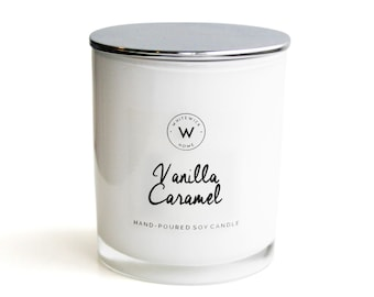 Scented Soy Wax Candle - White Medium Glass Jar 'Vanilla Caramel' with silver chrome lid